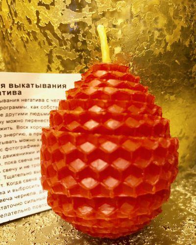 Красная Свеча-яйцо для выкатывания и отжига негатива