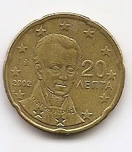 20 евроцентов Греция 2002 регулярная из обращения без знака