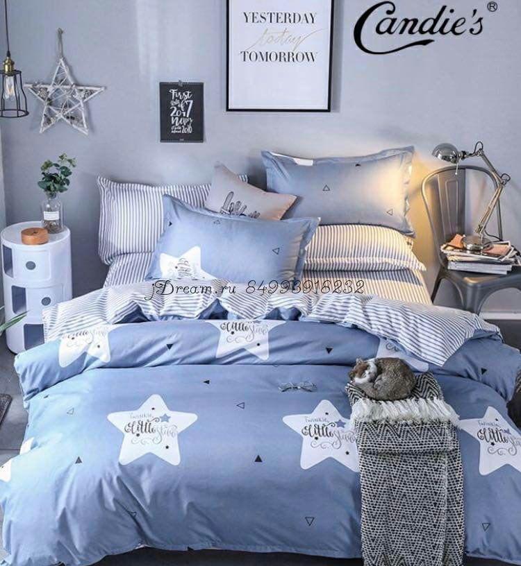 """Комплект постельного белья на резинке Candi`s """"Blue Stars"""""""