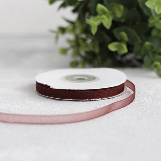 Лента капроновая (органза) 6 мм, шоколадная