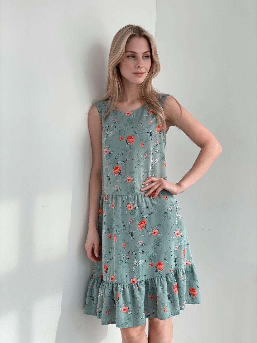 s3903 Платье с милым принтом фисташковое