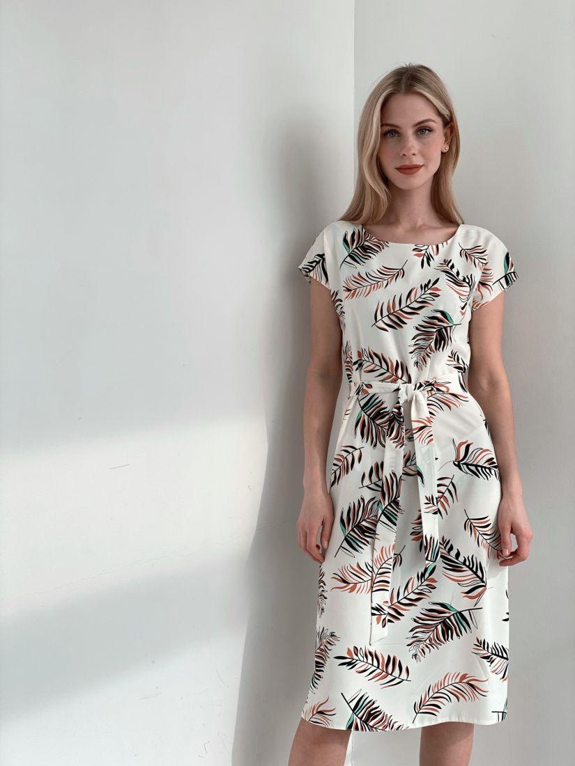 s3906 Платье с веточками и декольте по спинке