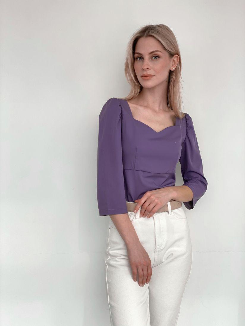 s3909 Топ в ретро-стиле с объемными рукавами в цвете smoky lilac