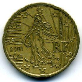 Франция 20 евроцентов 2001