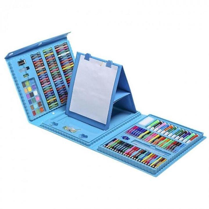 Набор для рисования со складным мольбертом в чемоданчике 208 предметов, цвет голубой