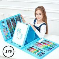 Набор для рисования со складным мольбертом в чемоданчике, 176 предметов, цвет голубой