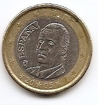 1 евро регулярная монета Испания 2005