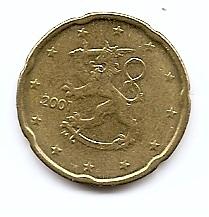 20 евроцентов Финляндия 2001 регулярная из обращения