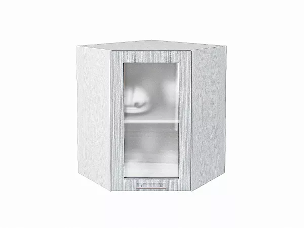 Шкаф верхний угловой Валерия ВУ590 со стеклом (серый металлик дождь)