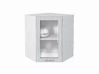 Шкаф верхний угловой Валерия ВУ590 со стеклом в цвете серый металлик дождь