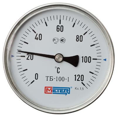 Термометр Метер ТБ-100-1 (с латунной гильзой G1/2) шток 40 мм