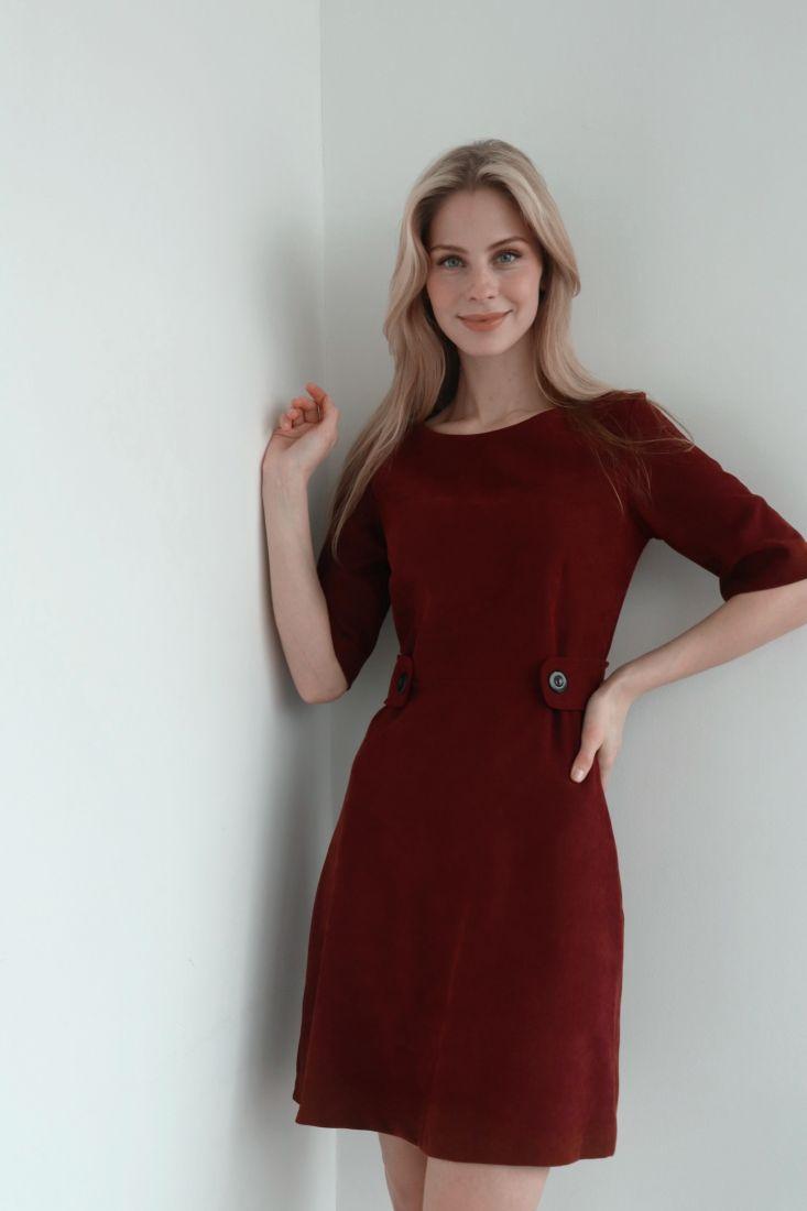s3918 Платье из вельвета бордовое