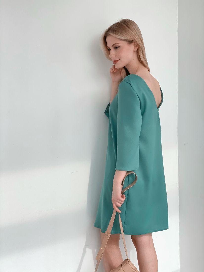 """s3920 Платье """"мини"""" с декольте по спинке в цвете папоротника"""
