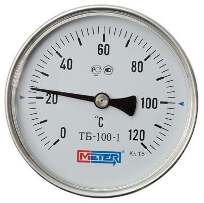 Термометр Метер ТБ-100-1 (с латунной гильзой G1/2) шток 160 мм