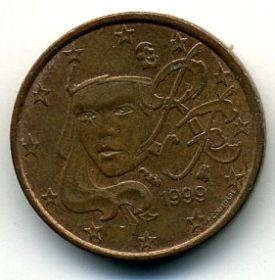 Франция 1 евроцент 1999