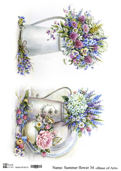 Декупажная карта Base of art, 20*30 см, Summer flower 34