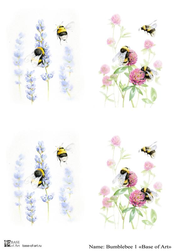 Декупажная карта Base of art, 20*30 см, Bumblebee 1