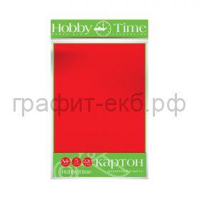 Картон цв.А4 220гр/м2 крашенный в массе красный Альт HobbyTime 2-063/13