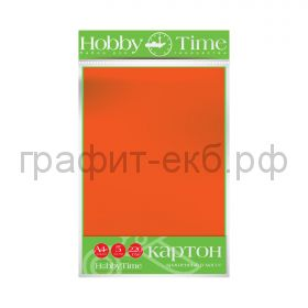 Картон цв.А4 220гр/м2 крашенный в массе оранжевый Альт HobbyTime 2-063/03