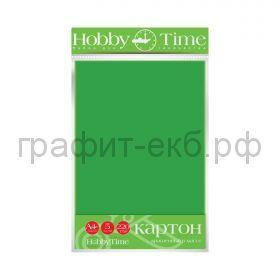 Картон цв.А4 220гр/м2 крашенный в массе зеленый Альт HobbyTime 2-063/05