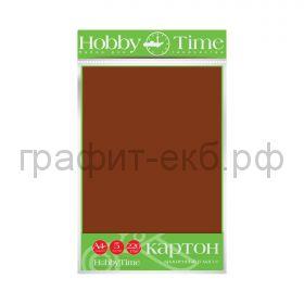 Картон цв.А4 220гр/м2 крашенный в массе коричневый Альт HobbyTime 2-063/14