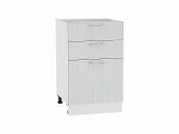 Шкаф нижний с 3-мя ящиками Валерия Н503 в цвете серый металлик дождь