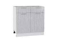 Шкаф нижний с 2-мя дверцами и 2-мя ящиками Валерия Н801 в цвете серый металлик дождь