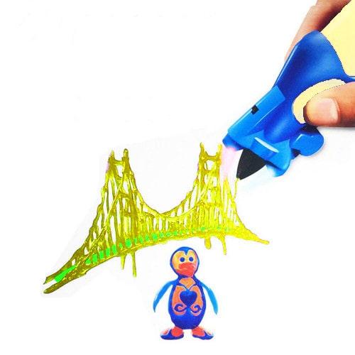 Беспроводная 3D ручка Creative Drawing Pen, цвет желтый - это современное устройство для взрослых и детей, позволяющее рисовать объемные картины и 3D объекты.