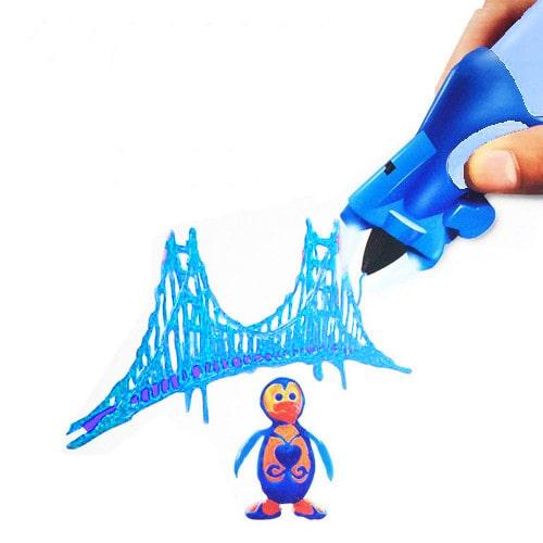 3D ручка Creative Drawing Pen, цвет голубой - это современное устройство для взрослых и детей, позволяющее рисовать объемные картины и 3D объекты.