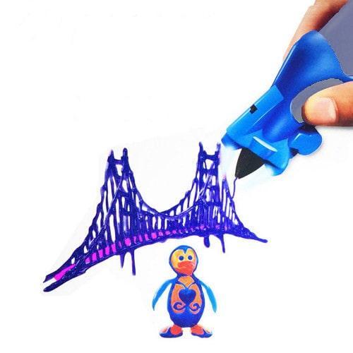3D ручка Creative Drawing Pen, цвет синий - это современное устройство для взрослых и детей, позволяющее рисовать объемные картины и 3D объекты.