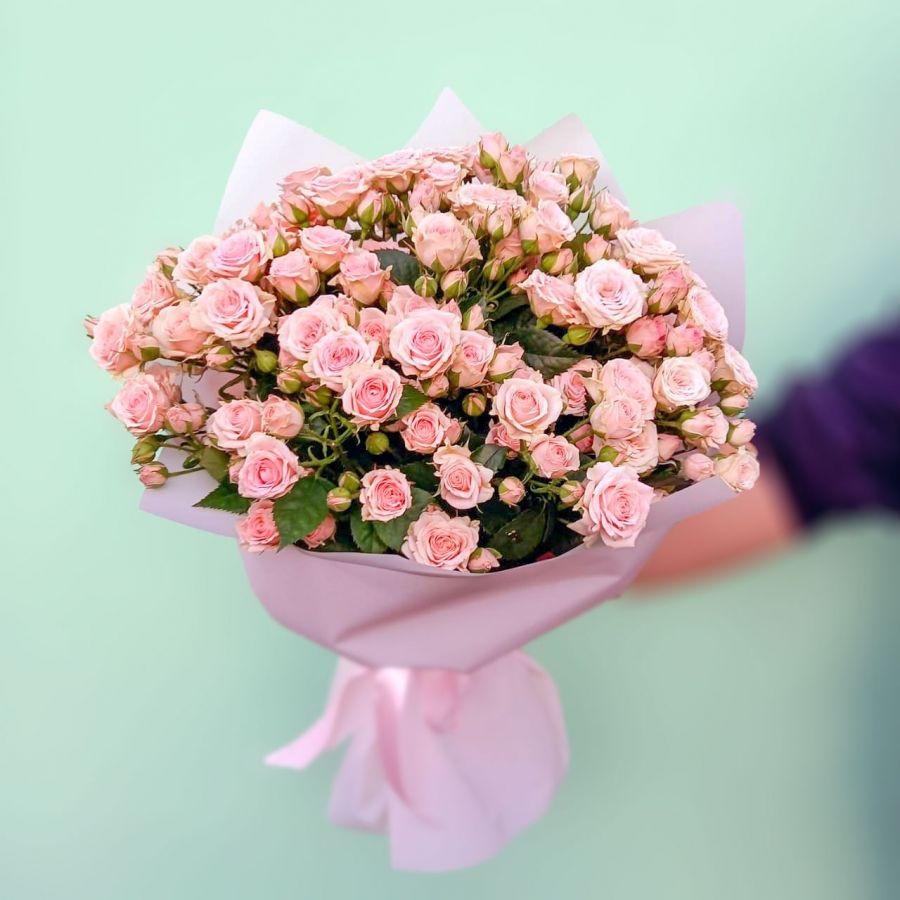 Букет из кустовой розы 11шт 70см в упаковке