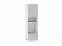 Шкаф пенал под бытовую технику Валерия ШП606 (серый металлик дождь)