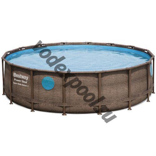 Каркасный бассейн Bestway Ротанг 56725 (488х122 см) с картриджным фильтром, лестницей и тентом