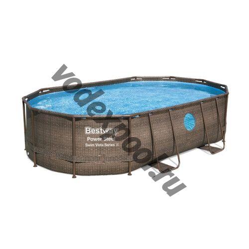 Каркасный бассейн Bestway Ротанг 56946 (488х305х107 см) с песочным фильтром, лестницей и защитным тентом