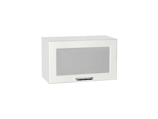 Шкаф верхний Прага ВГ610 со стеклом (Белое дерево)