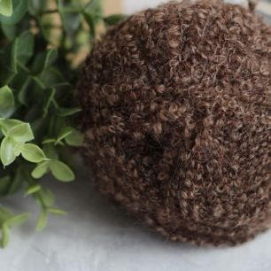 Пряжа буклированная (моток) для создания причесок кукол -  цвет Каштановый