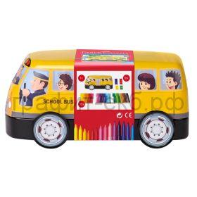 Фломастеры 33цв.Faber-Castell Connector School Bus +10 клипов д/соединения 155532