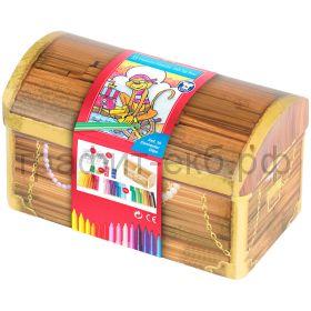 Фломастеры 33цв.Faber-Castell Connector Treasure box +10 клипов д/соед. +2 карточки д/раскраш.155536