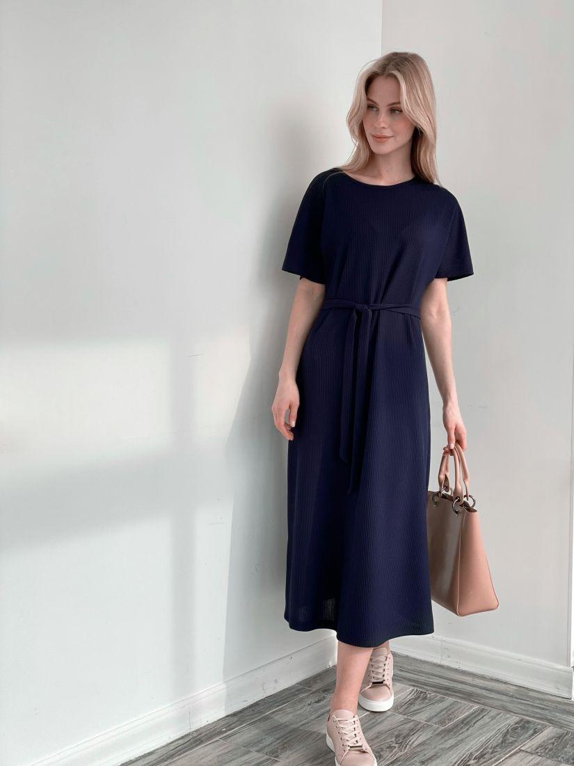 "s3923 Трикотажное тёмно-синее платье в стиле ""бохо"""