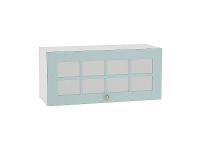 Шкаф верхний горизонтальный с увеличенной глубиной Прованс ВГ810 со стеклом (голубой)