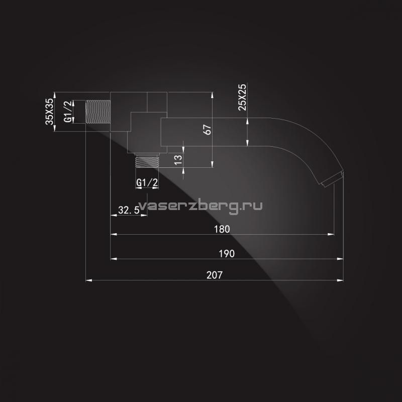 Излив встраиваемый настенный Elghansa CONCEALED SPOUTS RS-4W  180 мм, с переключателем, хром