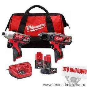 Набор инструментов:  Аккумуляторные импульсный винтоверт M12 BID-0, ударная дрель - шуруповерт M12 BPD-0, Аккумуляторы M12 B4 и M12 B2, Зарядное устройство C12 C Milwaukee M12 BPP2B-421C 4933443497