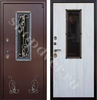 Металлические двери со стеклопакетом элементами ковки
