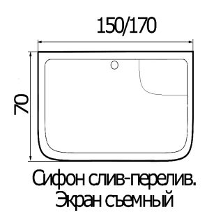 Акриловая ванна River 150x70x50