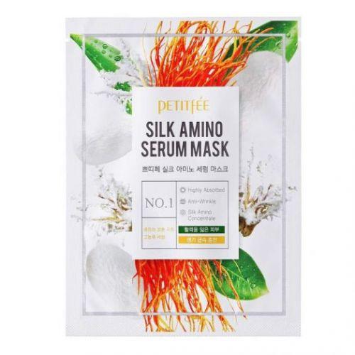 850016 Petitfee Лифтинг-маска для лица с протеинами шелка Silk Amino Serum Mask