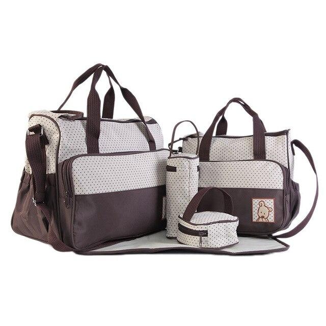 Сумка для мамы, набор из 5 предметов - стильный комплект сумок для прогулки с ребенком.