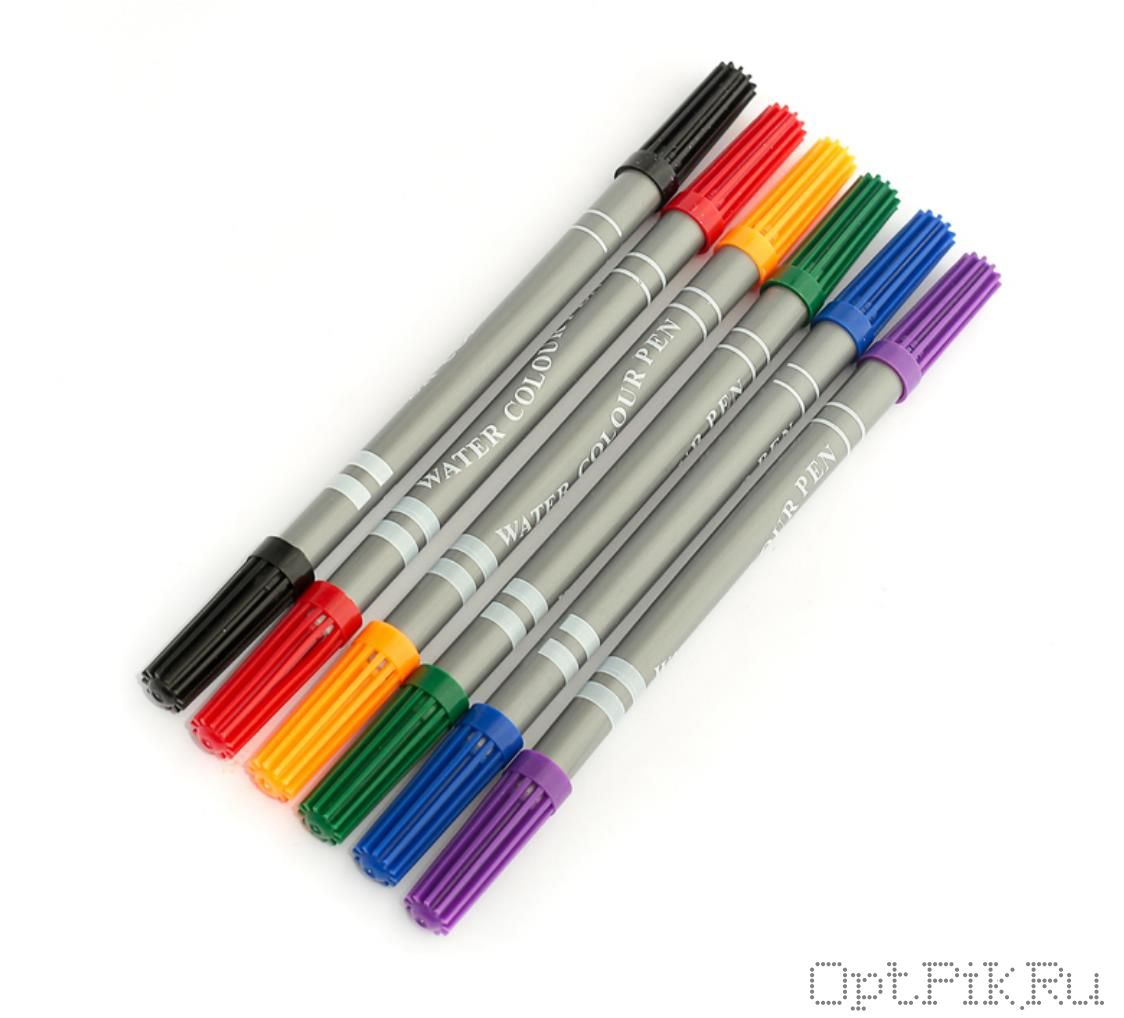 Фломастеры двухсторонние 6 штук 6 цветов