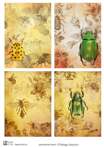 Декупажная карта Base of art, 30*40 см, Vintage insects