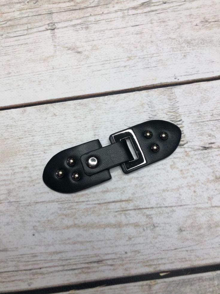 Застежка-клевант  Цвет черная кожа/ никель