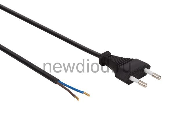 Сетевой шнур 2х0,75 мм², 1,8 м черный REXANT